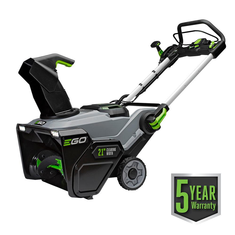 EGO 21 in. Single-Stage 56-Volt Lithium-Ion Cordless Electric Snow Blower with Two 5.0Ah Batteries and Charger Included