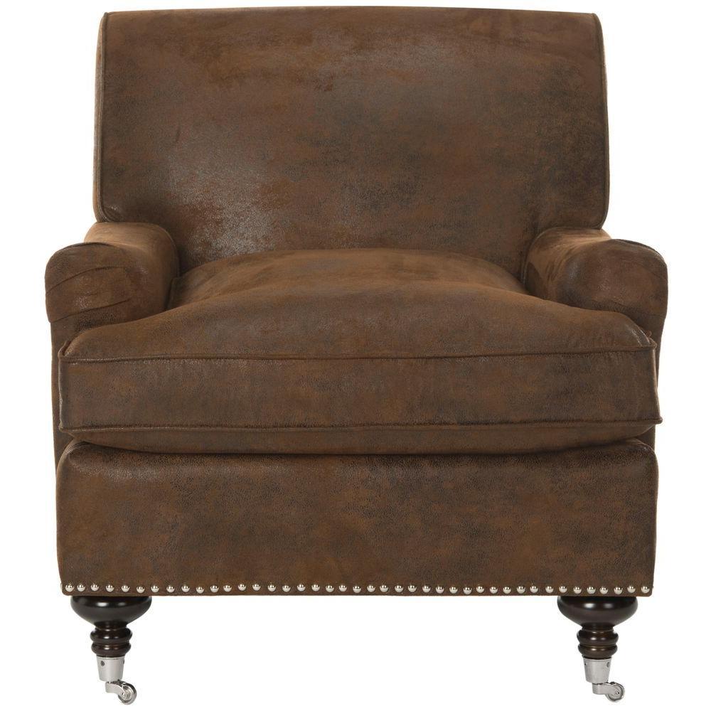 Chloe Brown/Espresso Faux Leather Club Arm Chair