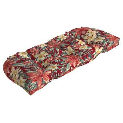 41 5 In X 18 Ruby Clarissa Tropical Countoured Tufted Outdoor Bench Cushion