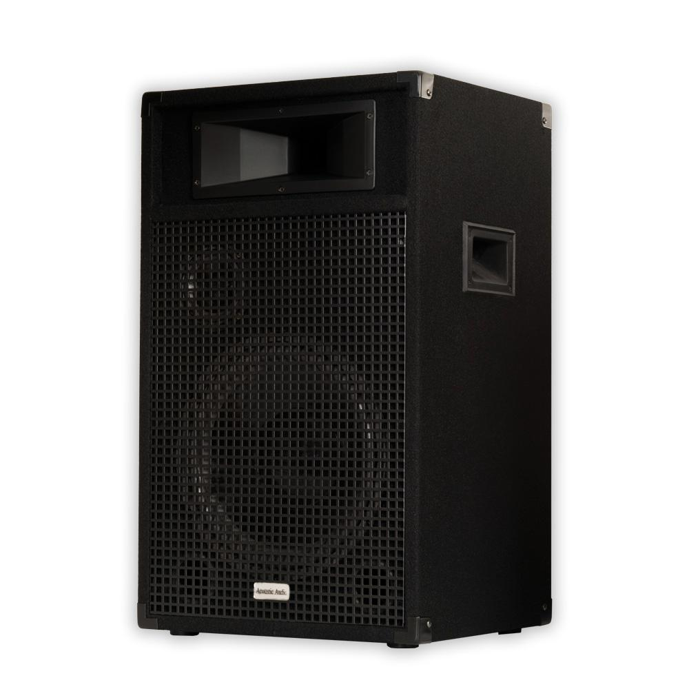 Passive 12 in. Speaker 3-Way DJ PA Karaoke Band Home Monitor, Black This Acoustic Audio passive speaker is designed for use in both professional audio and home audio entertainment applications. It is the perfect complement to any PA system, studio monitor, home theater system or other audio application requiring powerful and professional grade sound quality. This speaker is perfect PA, musicians, DJ's, rental companies and many fixed installations including houses of worship, theaters, music halls, meeting rooms, amusement parks, hotels, stadiums, nightclubs and auditoriums. Color: Black.