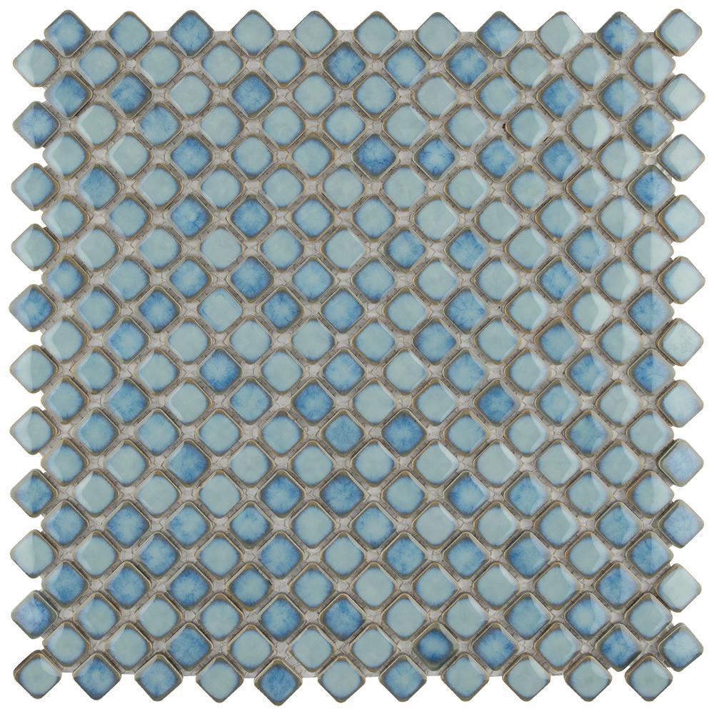 Merola Tile Hudson Diamond Marine 12-3/8 in. x 12-3/8 in. x 5 mm Porcelain Mosaic Tile