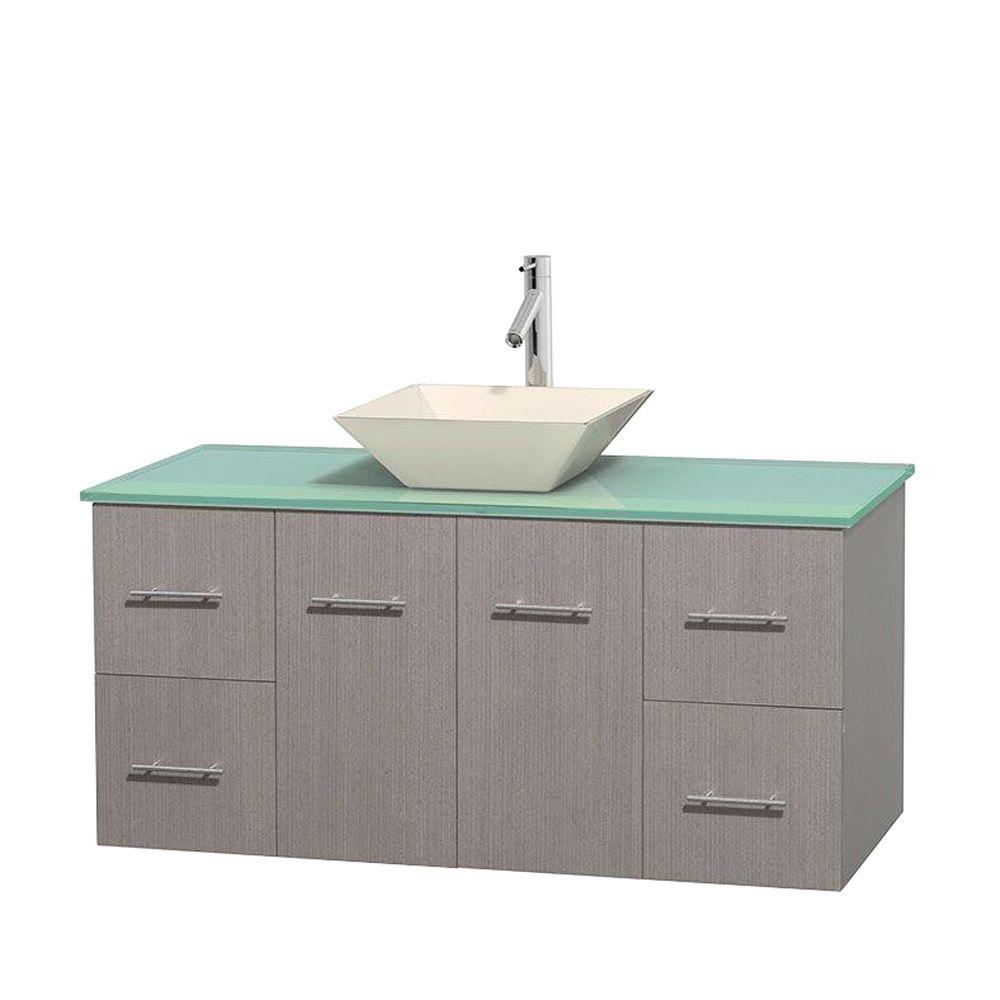 Wyndham Collection Centra 48 in. Vanity in Gray Oak with Glass Vanity Top in Green and Bone Porcelain Sink