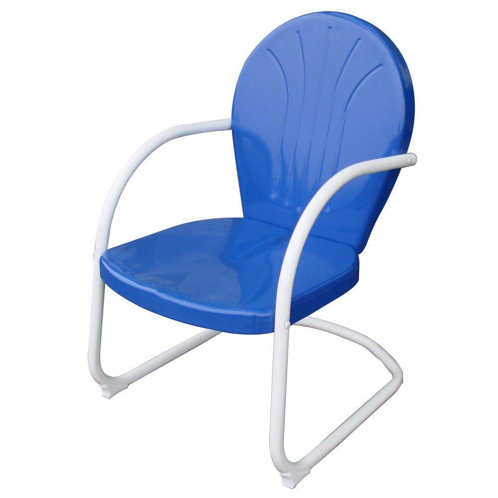 AmeriHome Retro Style Series Blue Metal Patio Lawn Chair