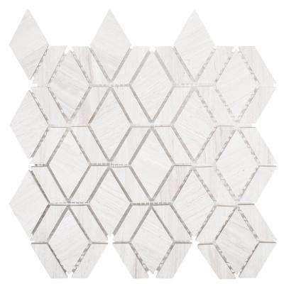 Crescent Gray 10.25 in. x 11 in. x 8 mm Geometric Honed Limestone Wall and Floor Mosaic Tile