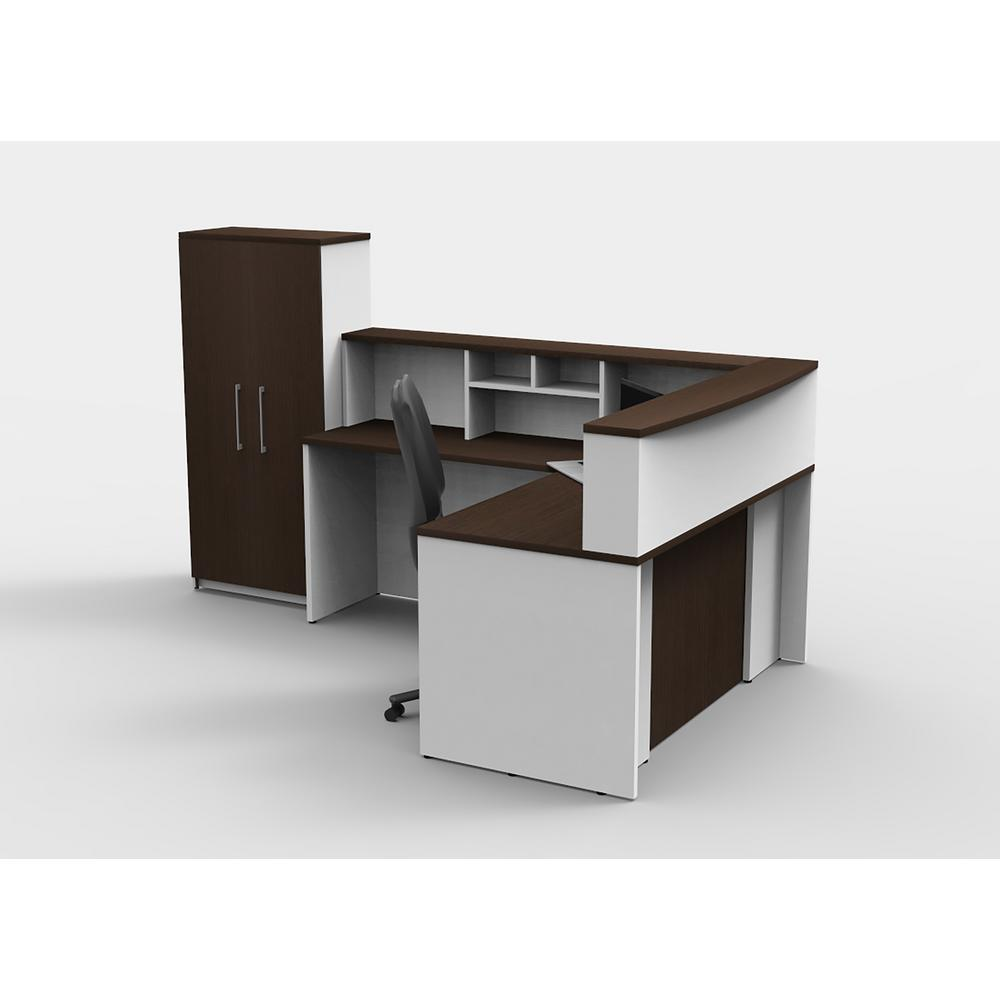 Attirant OfisLITE 5 Piece White/Espresso Office Reception Desk Collaboration Center