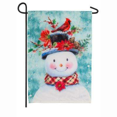 18 in. x 12.5 in. Winter Flora Snowman Garden Organza Flag