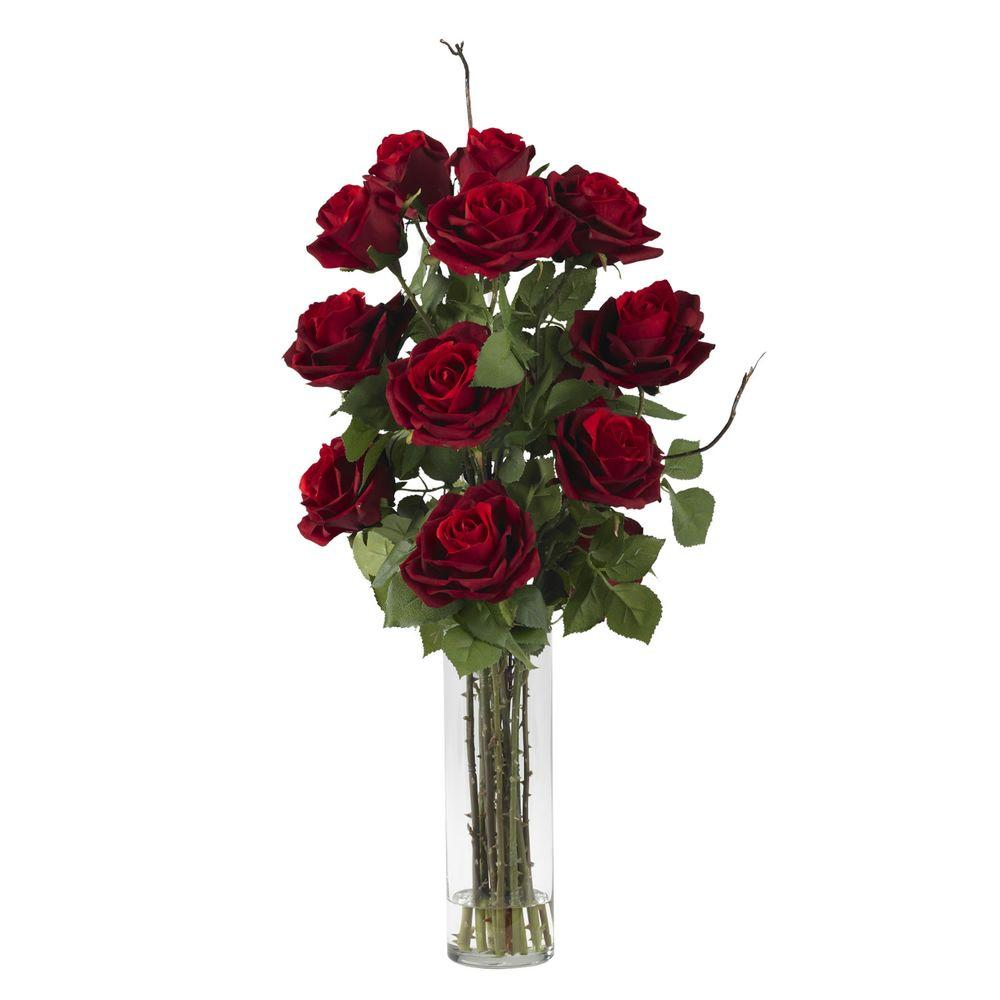 Nearly Natural 27 in. H Red Roses with Cylinder Vase Silk Flower ...