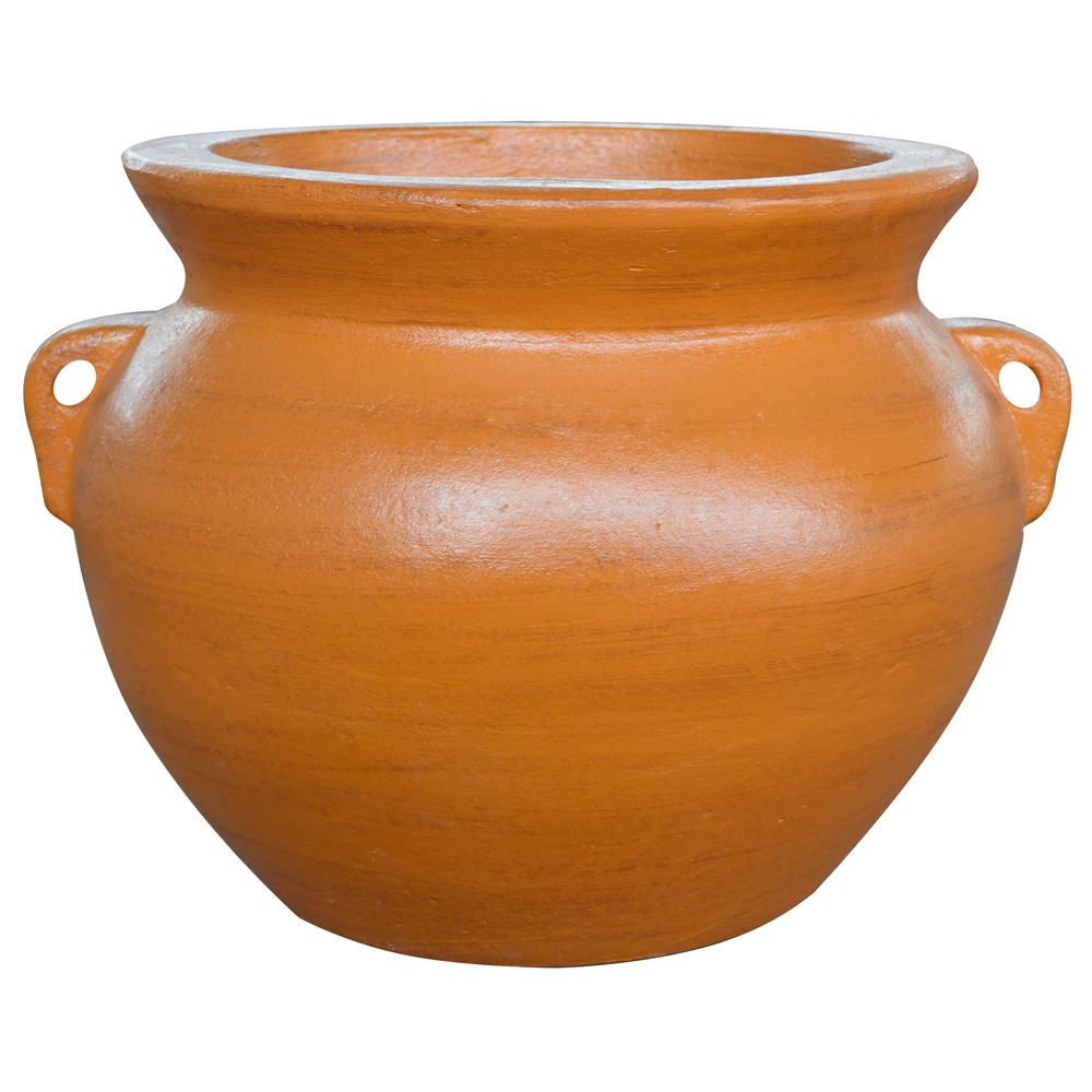 14 in. Yellow Soft Handle Clay Pot