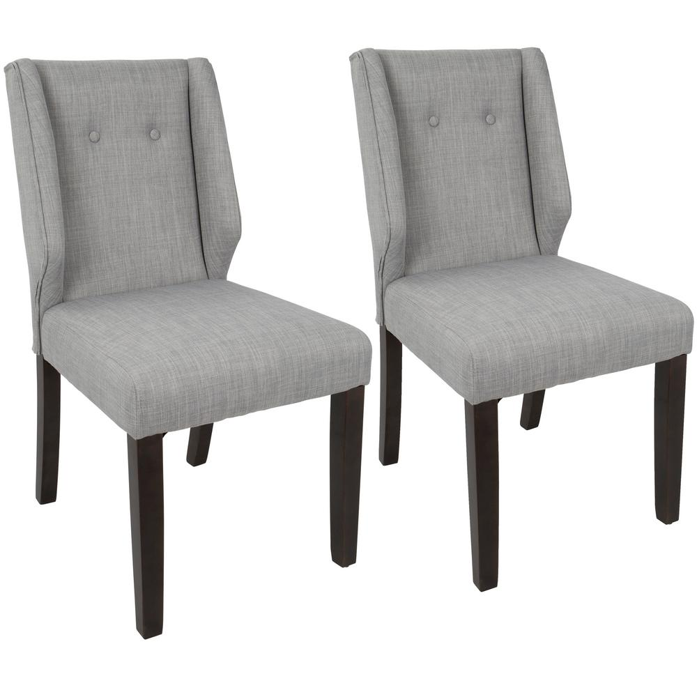 lumisource rosario walnut and light grey dining chair set of 2 dc rsro wl lgy2 the home depot. Black Bedroom Furniture Sets. Home Design Ideas