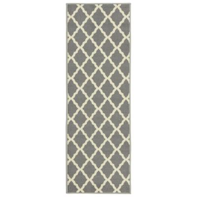 Glamour Collection Contemporary Moroccan Trellis Gray 2 ft. x 5 ft. Kids Runner Rug