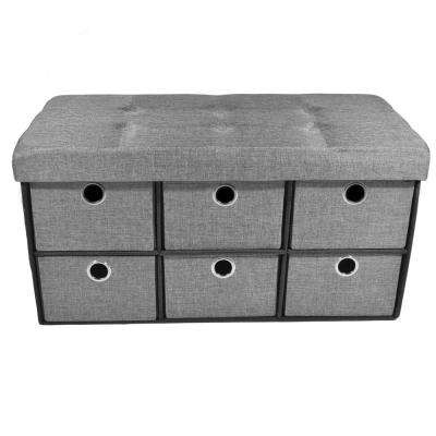 30 in. x 15 in. x 16 in. Linen Grey Collapsible 6-Drawer Storage Ottoman