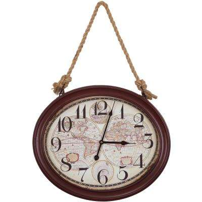 20 in. x 16.5 in. Circular MDF Wall Clock with Rope in Red Oak Frame