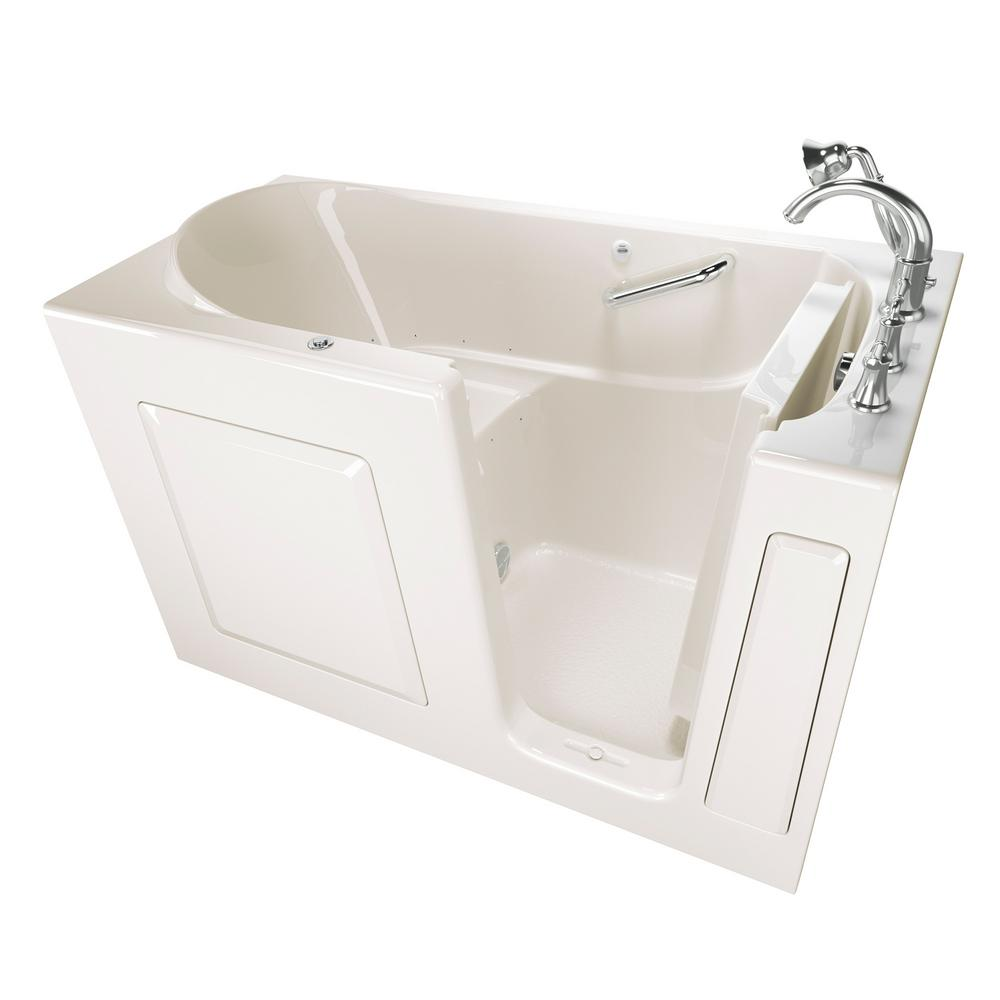 American Standard Exclusive Series 60 in. x 30 in. Right Hand Walk-In Air Bath Tub with Quick Drain in Linen