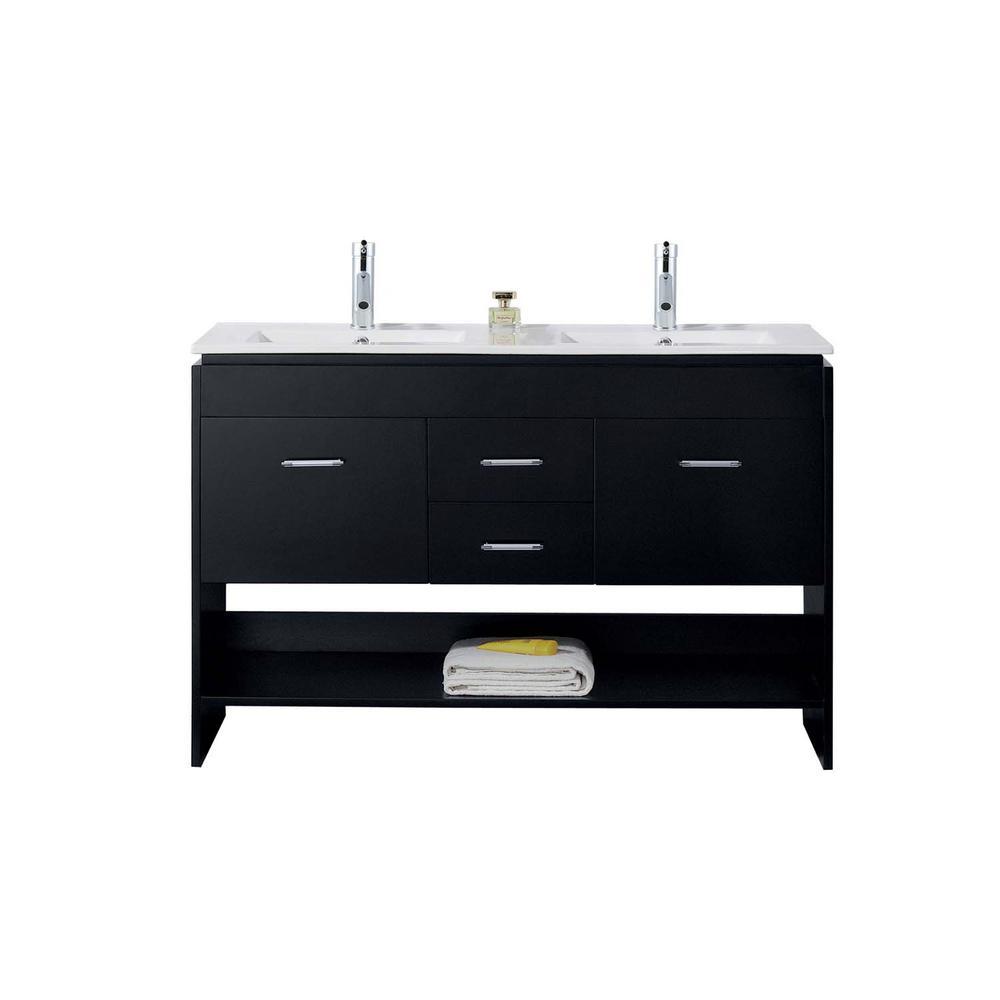 Gloria 48 in. W Bath Vanity in Espresso with Ceramic Vanity Top in Slim White Ceramic with Square Basin