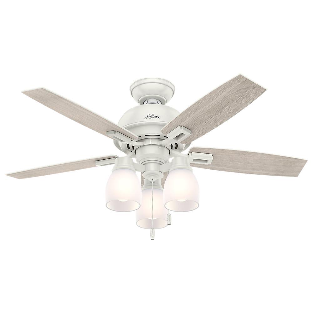 Hunter Donegan 44 In Led 3 Light Indoor Fresh White Ceiling Fan Bundled With Handheld Remote Control