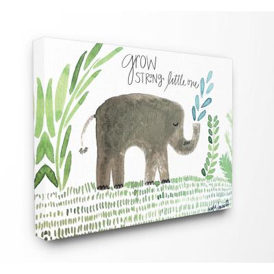 """16 in. x 20 in. """"Grow Strong Little Elephant"""" by Katie Doucette Printed Canvas Wall Art"""