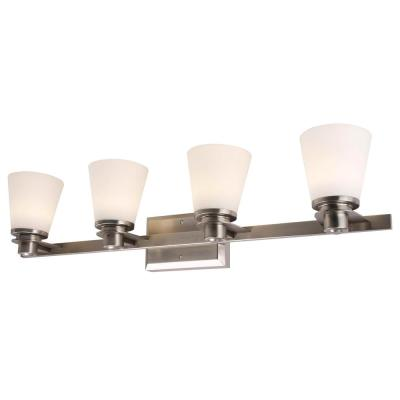 4-Light Brushed Nickel Vanity Lighting with Etched Opal Glass LED Integrated