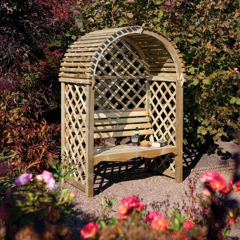 Admirable Bosmere English Garden 53 In X 79 In Victorian Wood Arbor With Seat Pdpeps Interior Chair Design Pdpepsorg