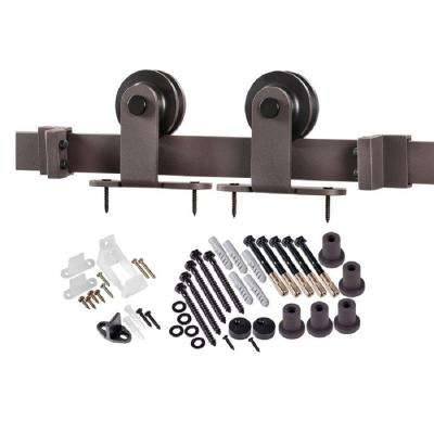 78.75 in. Bronze Top Strap Barn Door Hardware