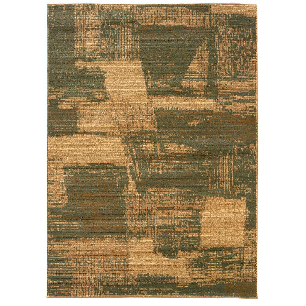 Contemporary Cream and Dark Yellow Rectangle 3 ft. 11 in. x