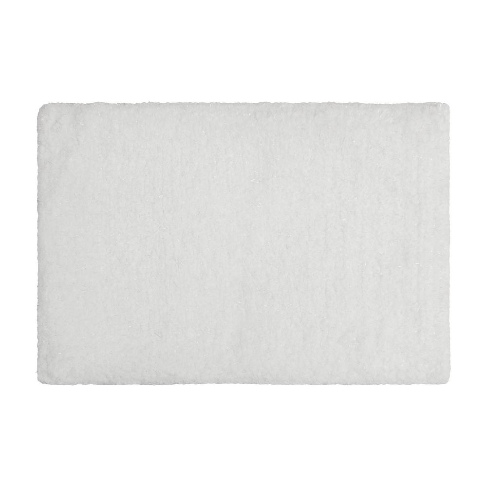 Rachel Lurex 17 in. x 24 in. Bath Rug, White