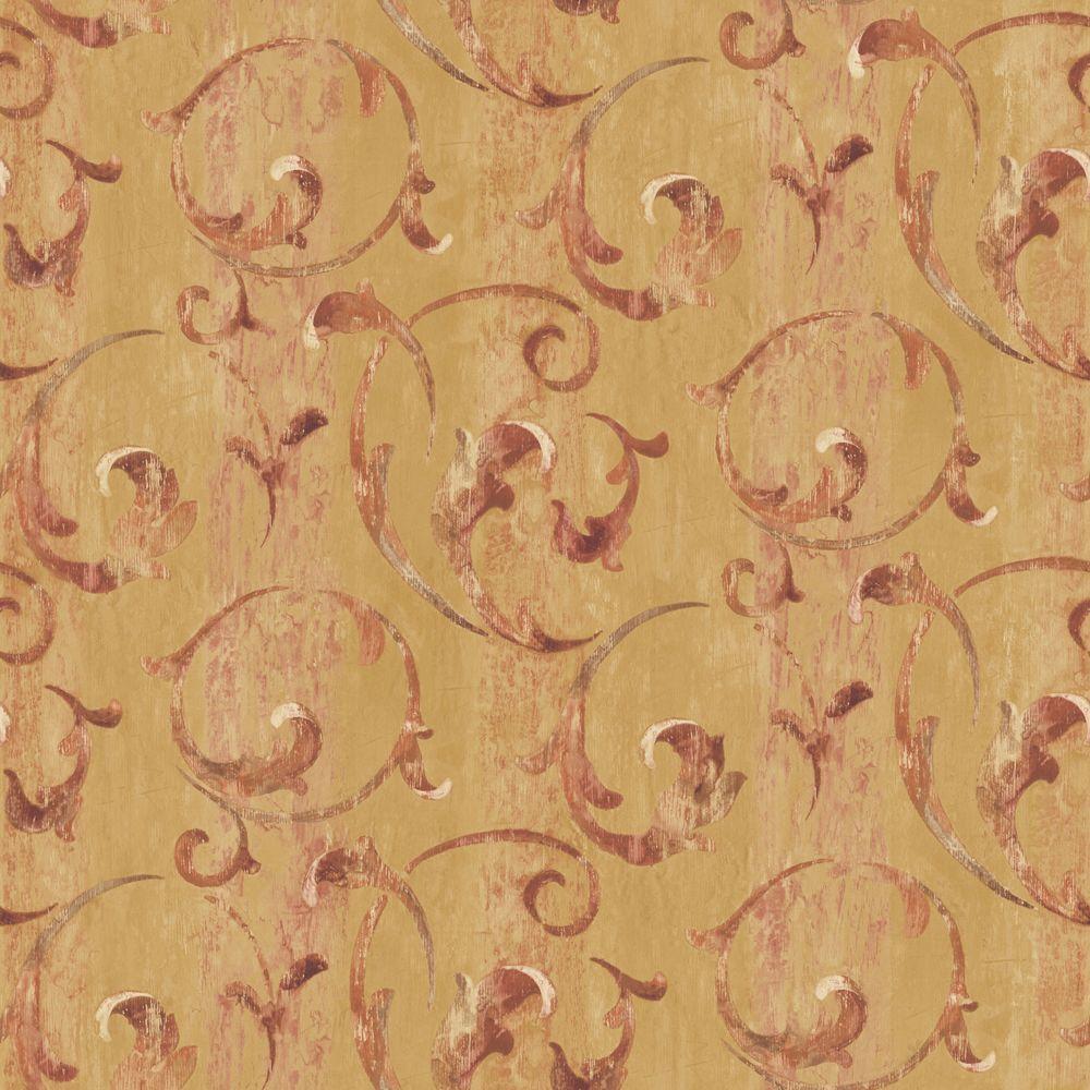 The Wallpaper Company 56 sq. ft. Orange Traditional Scroll Wallpaper