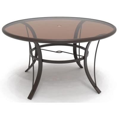 Riverbrook Espresso Brown Round Aluminum Glass Top Outdoor Dining Table