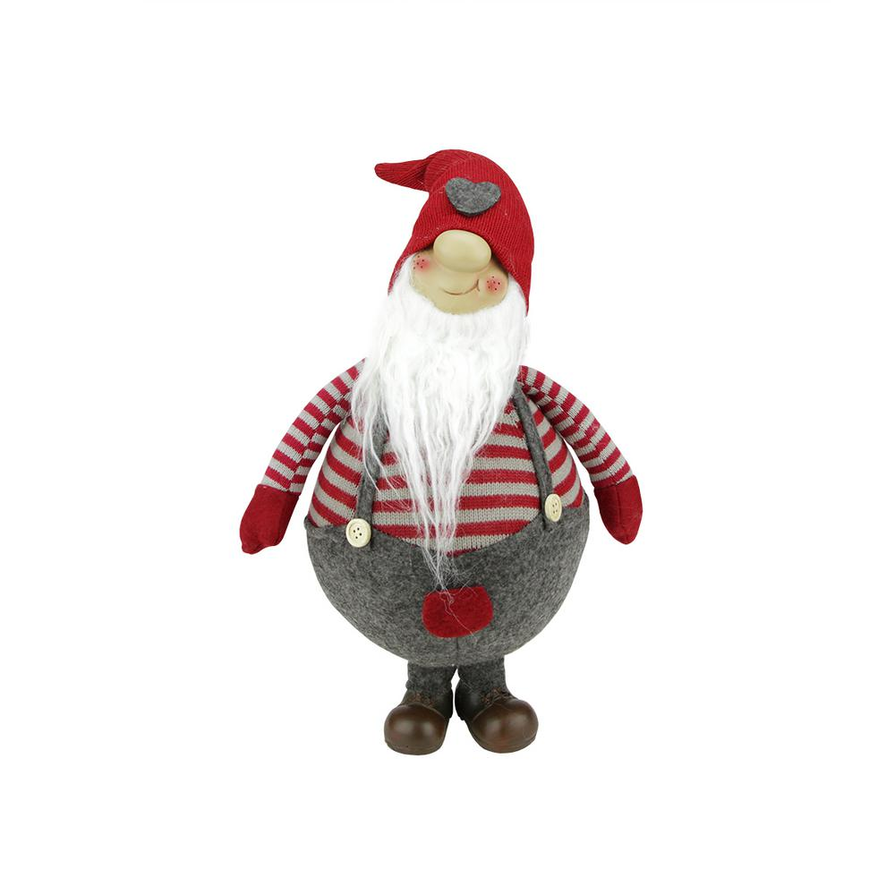 12 in. Red and Gray Striped Gilbert Chubby Standing Santa Gnome