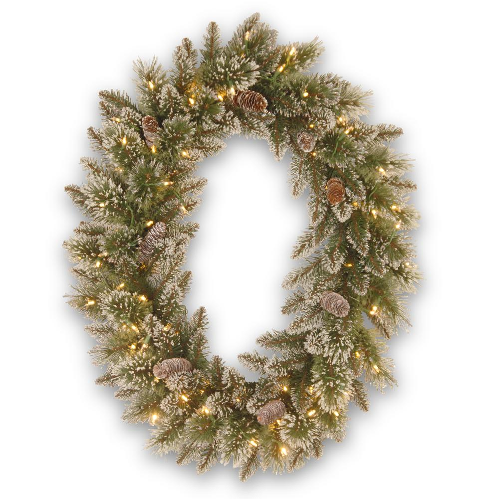 National Tree Company 30 in. Glittery Bristle Pine Artificial Wreath with Battery Operated Warm White LED Lights