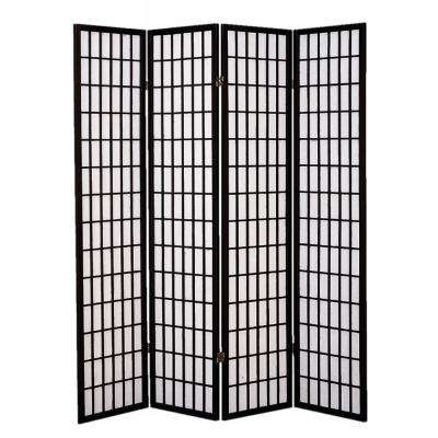 Shoji Screen 6 Ft Black 4 Panel Room Divider