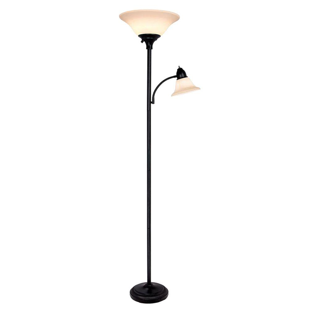 Hampton Bay 71 In Black Floor Lamp With 2 Frosted Plastic