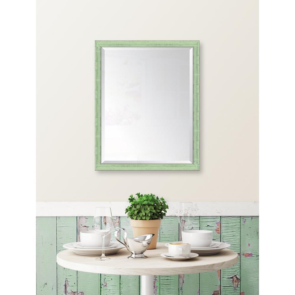 25 in. x 31 in. Framed Mint Mirror