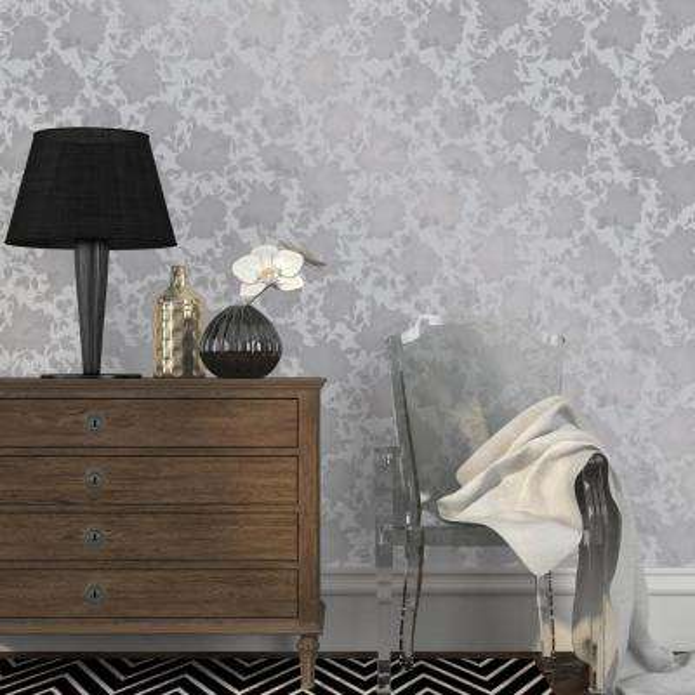 Metallic Silver Silhouette Wallpaper