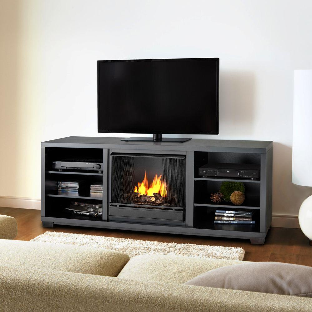Real Flame Marco 70 in. Media Console Gel Fuel Fireplace in Black-DISCONTINUED