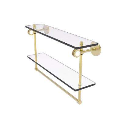 Clearview Collection 22 Inch Double Glass Shelf with Towel Bar and Dotted Accents in Satin Brass