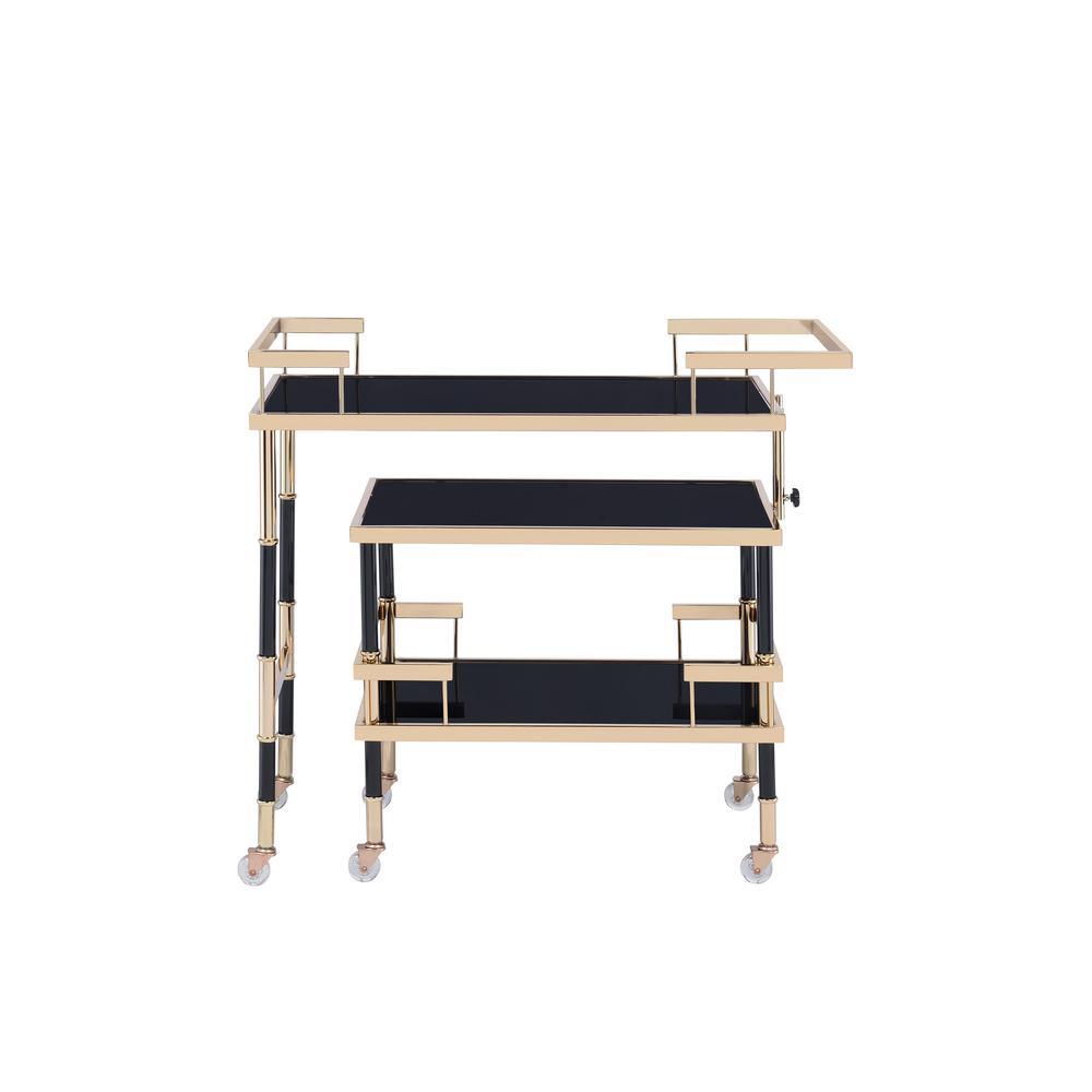 Kina Gold/Black and Smoky Glass Serving Cart