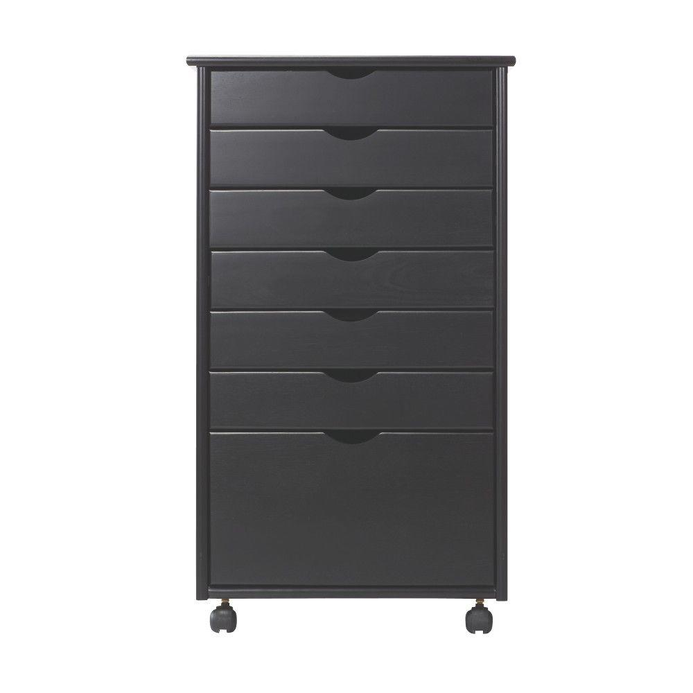Stanton Wide 7-Drawer Cart in Black