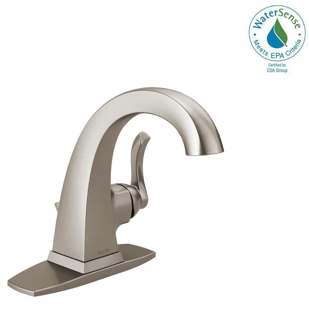Delta Everly 4 inch Centerset Single-Handle Bathroom Faucet in SpotShield Brushed Nickel by Delta