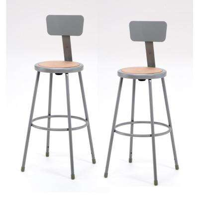 30 in. Grey Heavy-Duty Steel Stool with Backrest (2-Pack)