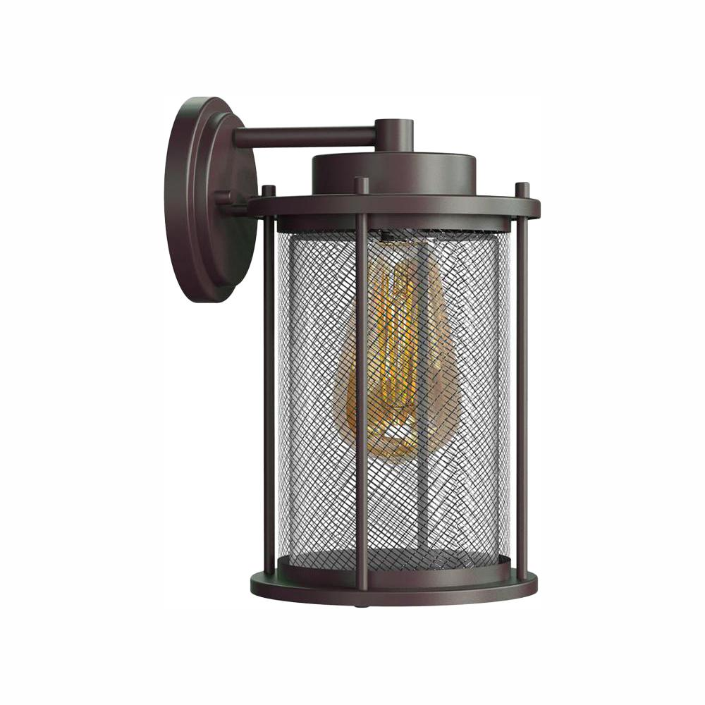 Home Decorators Collection Joelle Collection Antique Bronze Outdoor Wall Lantern Sconce with Edison LED Bulb