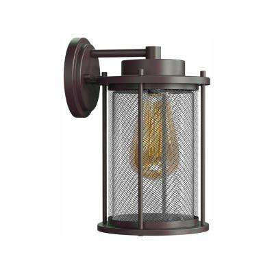Joelle Collection Antique Bronze Outdoor Wall Lantern Sconce with Edison LED Bulb