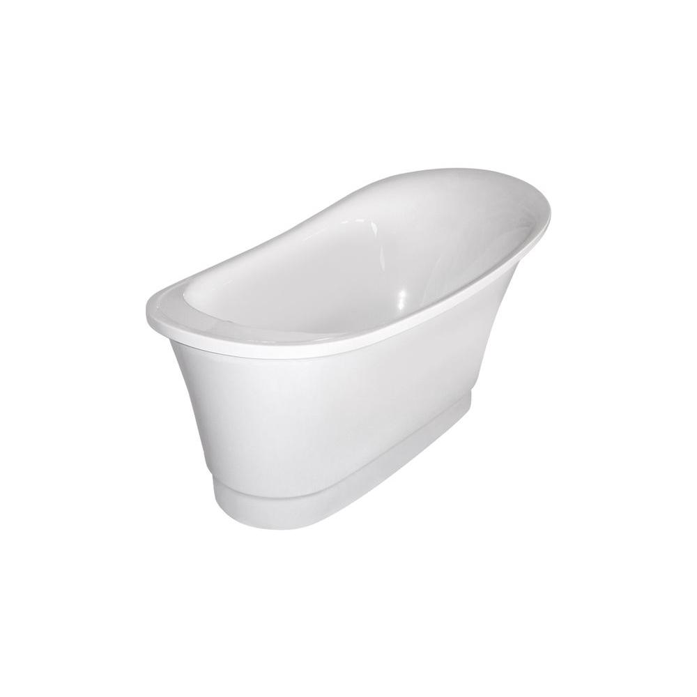 Aquatica PureScape 060 5.25 ft. Acrylic Slipper Clawfoot Non-Whirlpool Bathtub in White