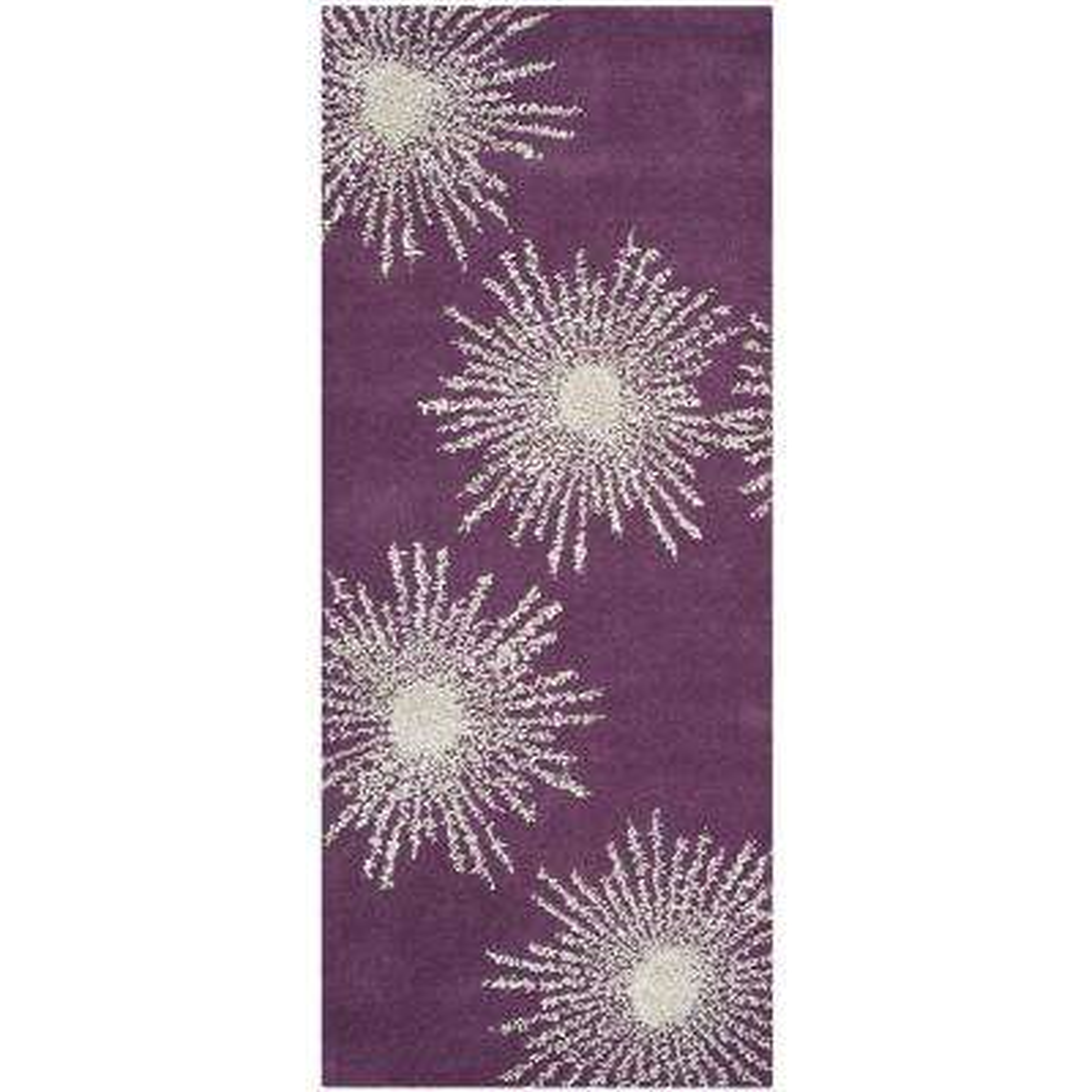 Soho Purple/Ivory 3 ft. x 10 ft. Runner Rug
