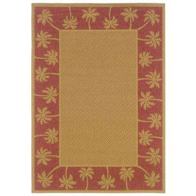 Nevis Passage Tan/Red 6 ft. 3 in. x 9 ft. 2 in. Area Rug