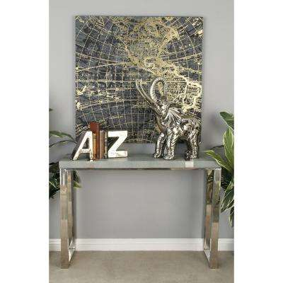 Gray and Silver Rectangular Console Table