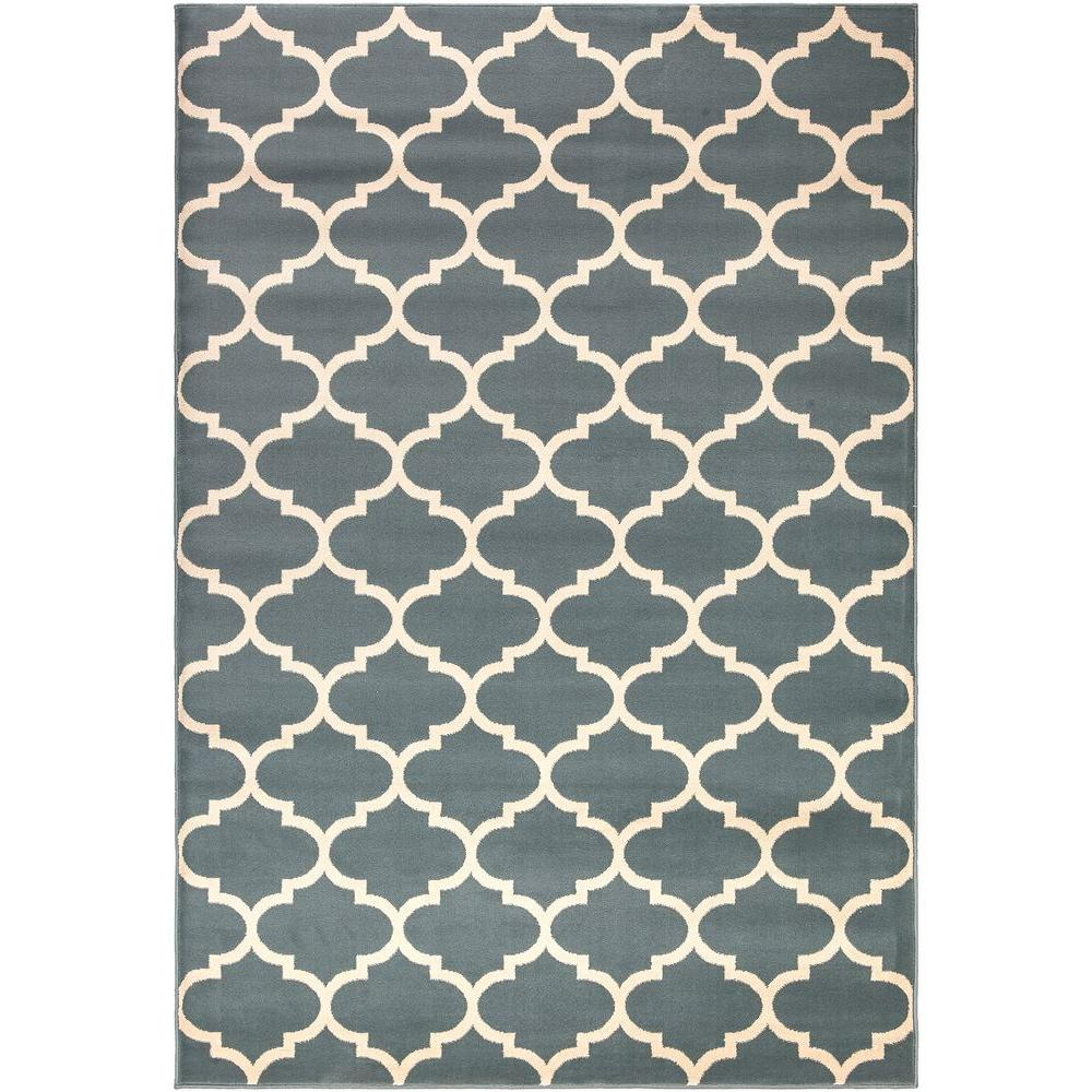 Ottomanson Contemporary Moroccan Trellis Blue 8 ft x 11 ft Area