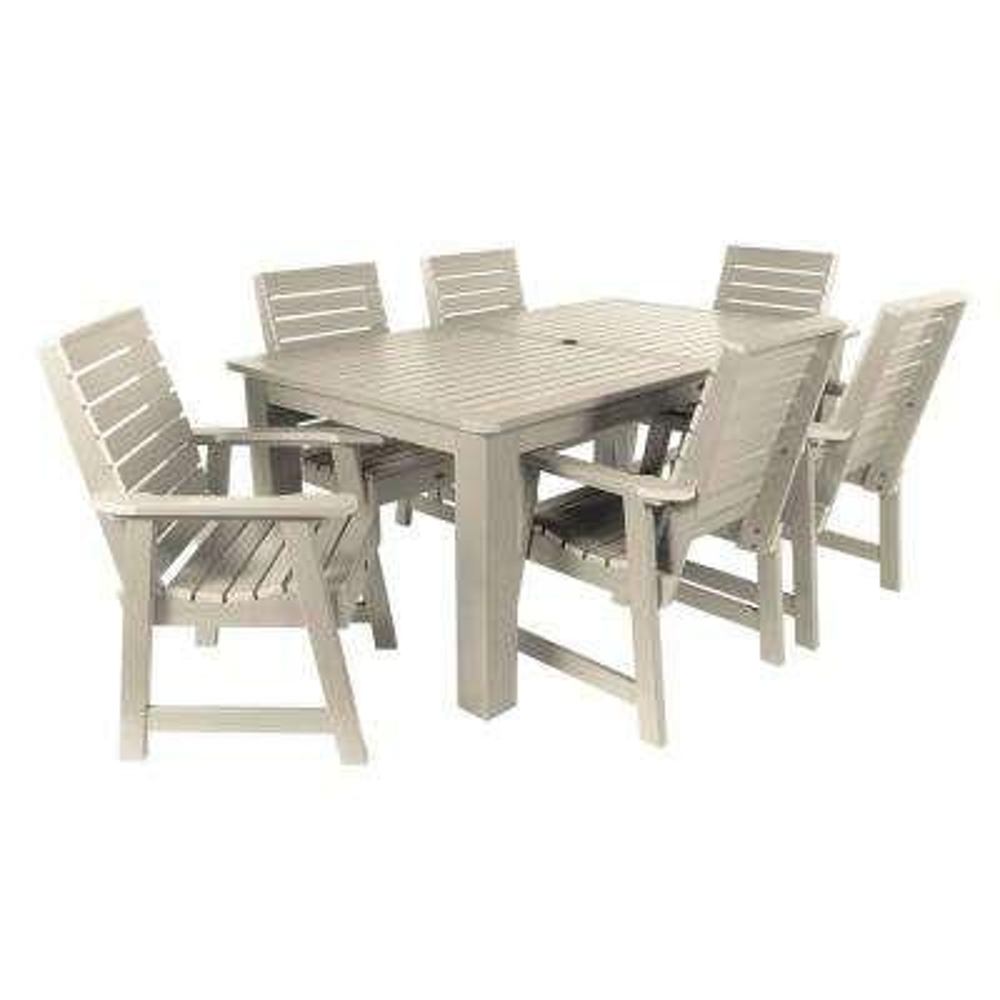 Weatherly Whitewash 7-Piece Recycled Plastic Rectangular Outdoor Dining Set
