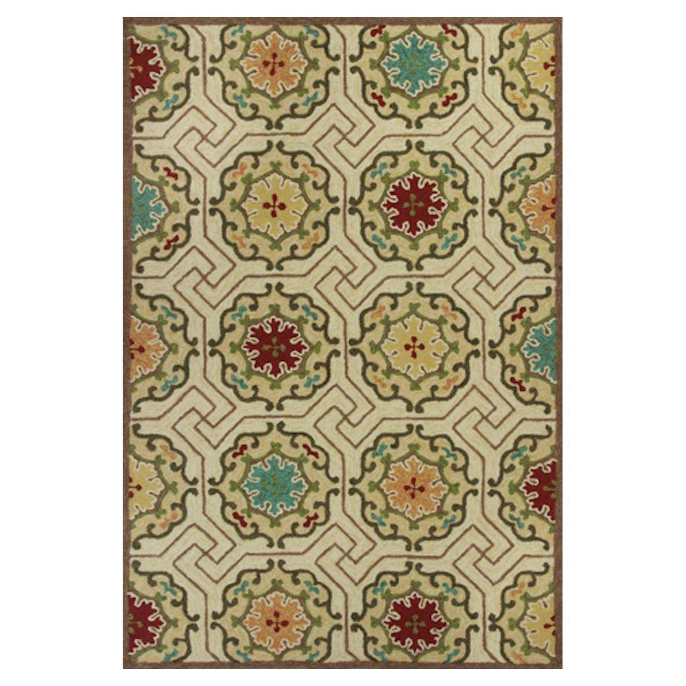 Kas Rugs High Fashion Motif Ivory/Blue 5 ft. x 7 ft. 6 in. Area Rug