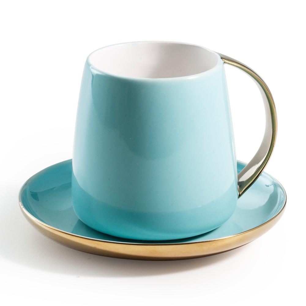Sausalito Blue 12 oz. Mug and Saucer Set