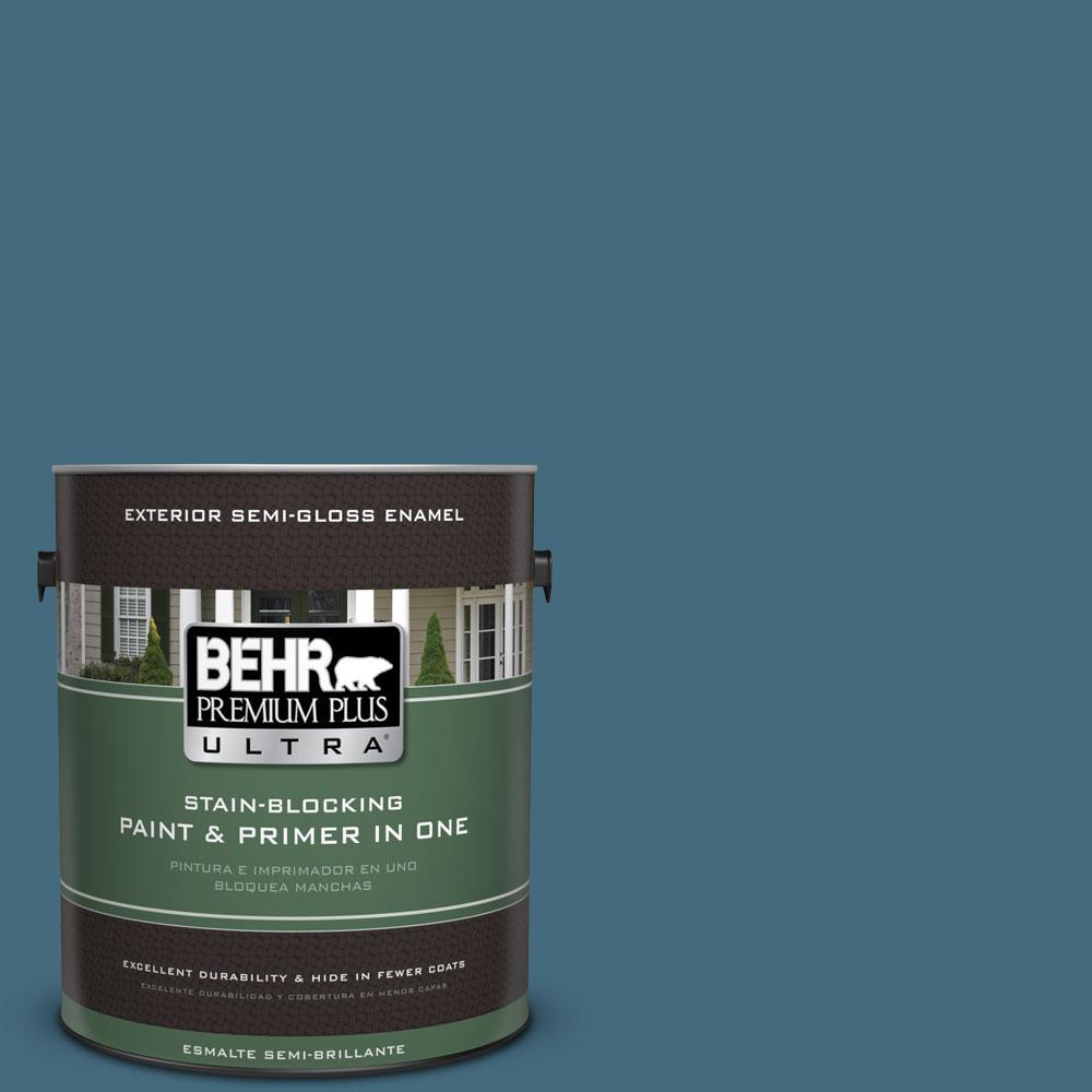 BEHR Premium Plus Ultra 1-gal. #550F-6 Regatta Bay Semi-Gloss Enamel Exterior Paint